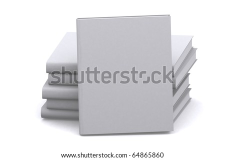 3d empty books on white isolated background