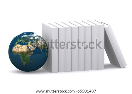 3d empty books with mini world on white isolated background