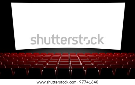 3d Empty cinema screen with auditorium - stock photo