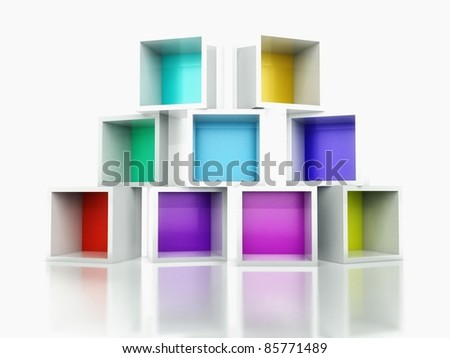 3d Empty colorful bookshelf stack