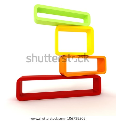 3d empty frames on white background