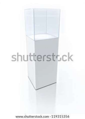 3D Empty glass box for exhibit