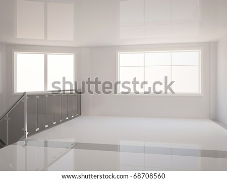 3D empty hall with large windows and stair railing