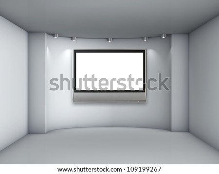 3d empty niche with spotlights and lcd tv for exhibit in the grey interior