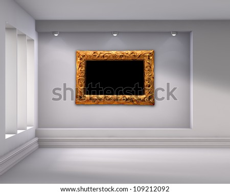 3d empty niche with spotlights and picture frame for exhibit in the bright interior