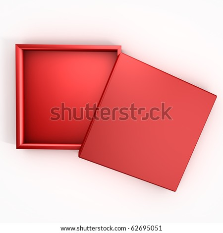 3D Empty Red Box with Cover