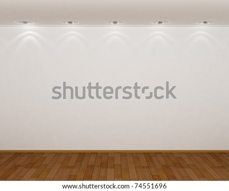 3d empty room with a parquet floor