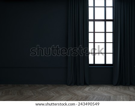 3d Empty room with curtains #243490549