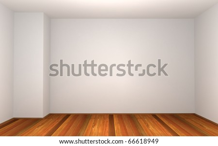 3d empty room with pillar in the corner