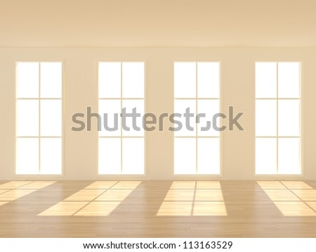 3d Empty Room with windows