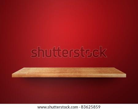 3D empty shelf on wall