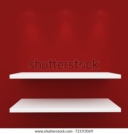 3d Empty shelves for exhibit isolated on white