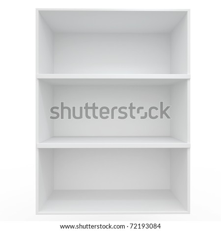 3d Empty shelves for exhibit isolated on white - stock photo