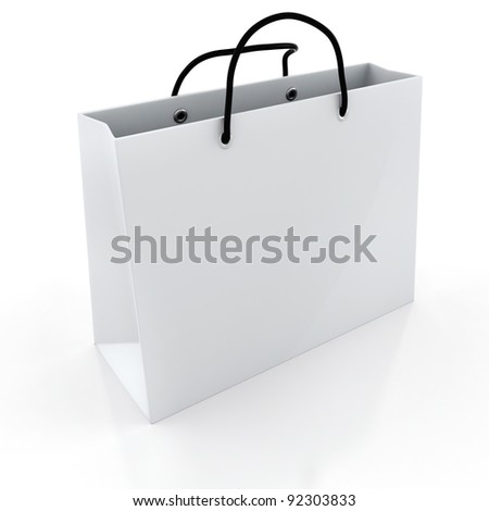 3d empty shopping bag, on white background
