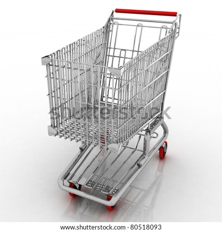 3d empty shopping cart isolated on white background