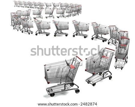 3d empty shopping cart line