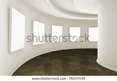 3d empty showroom with blank boxes