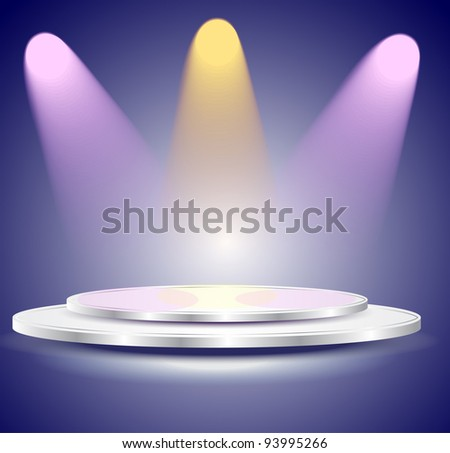3d Empty white podium with color light, illustration
