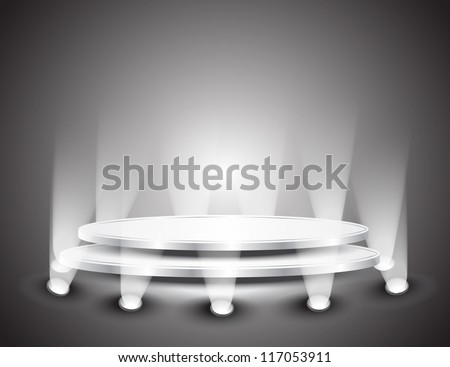 3d Empty white podium with light for design
