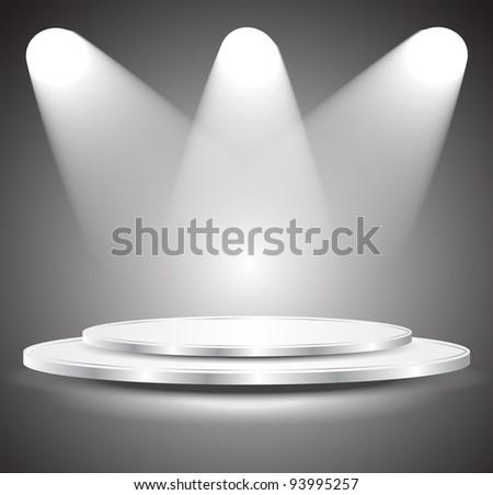 3d Empty white podium with light, illustration