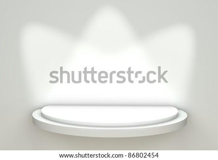 3d Empty White Shelf