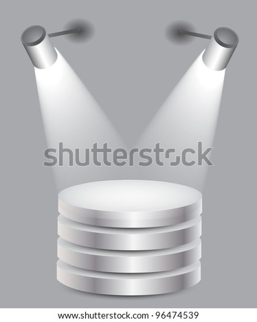 3d Empty white stand with light, illustration
