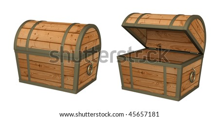 3d empty wooden box. Object over white