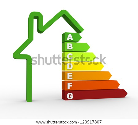 3d energy efficiency chart. 3d render
