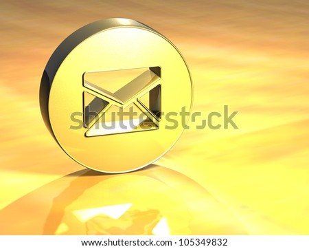 3D Envelope Gold Sign over yellow background