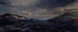 3D environment of the Arctic Mountains at dusk Panoramic landscape