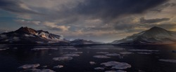 3D environment of the Arctic Mountains with small iceberg in the water. Panoramic landscape