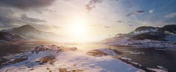 3D environment of the arctic seeing the luminous sunset. Panoramic landscape