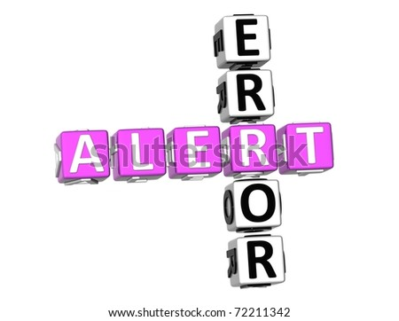 3D Error Alert Crossword on white background