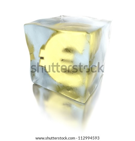 3d euro frozen in a ice cube, isolated on white background
