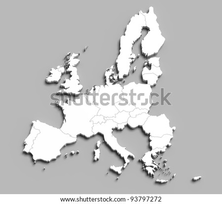 3d european union white map on grey isolated