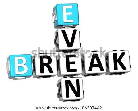 3D Even Break Crossword on white background