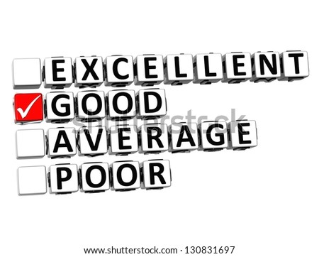 3D Excellent Good Average Poor Button Click Here Block Text over white background