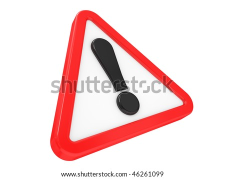3D exclamation sign on a white background