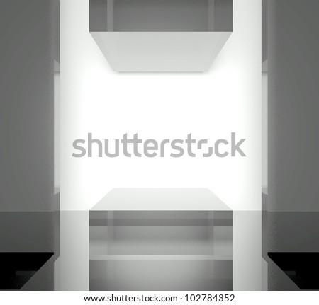 3d exhibition space, Empty glass showcase
