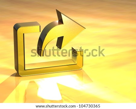 3D Export Gold Sign over yellow background - stock photo