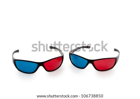 3 D -eyeglasses with red and blue glass - isolated