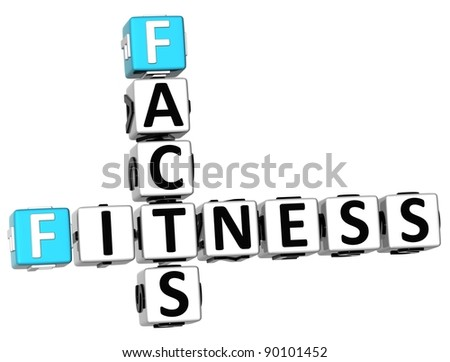 3D Facts Fitness Crossword on white background - stock photo