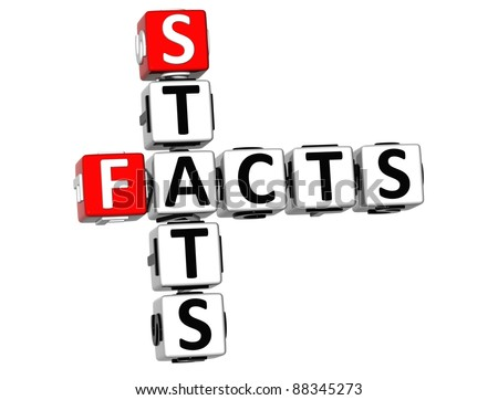 3D Facts Stats Crossword on white background