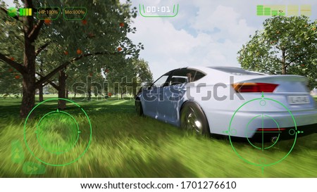 3d fake game in race style. Fantasy paint art. Virtual reality headset. Abstract vr world. Fantasy digital art. Virtual reality 3d. Wallpaper background. 3d render