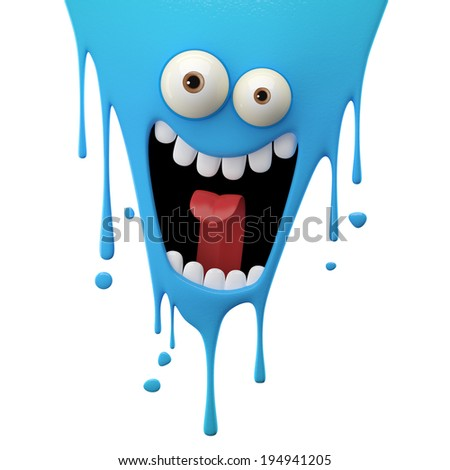 3D fantasy paint object color splash character funny design element attractive emoticon unique expression sticker isolated on the white background