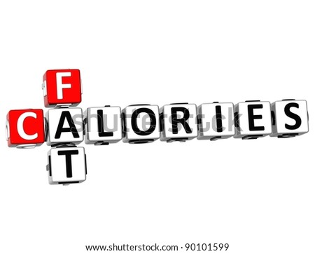 3D Fat Calories Crossword on white background