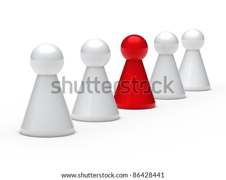 3d figure in a series with leadership - stock photo