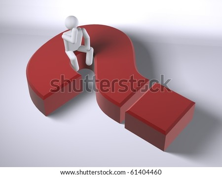 3d figure thinking on a question mark (web-sized to 1080 HD sized footages also available)