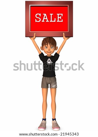 3D Figure with Sale Sign