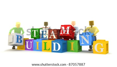 3D figures engaging in a team building exercise isolated against a white background